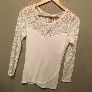 Tops - White lace long sleeve